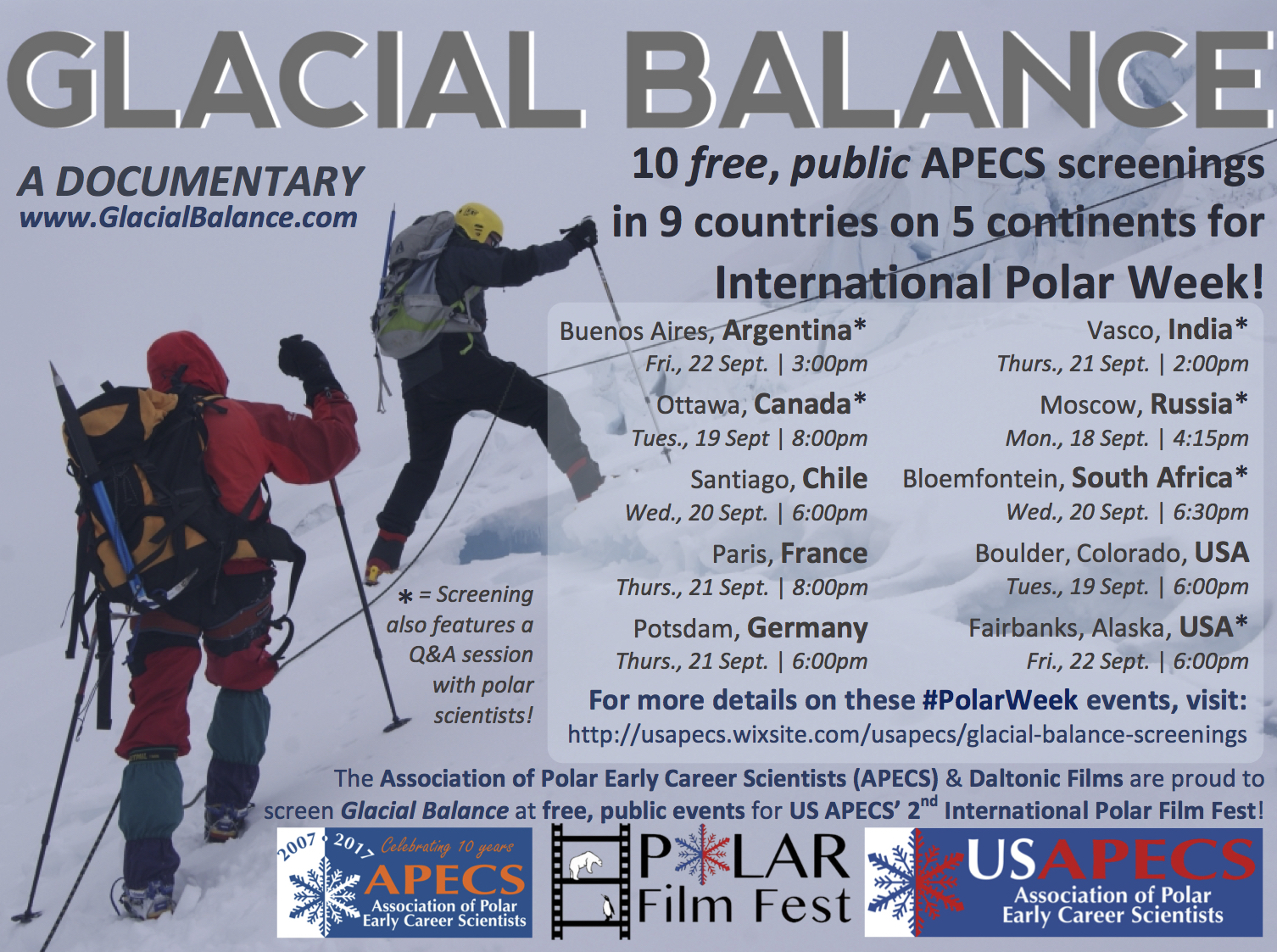 APECS Glacial Balance screenings poster 2017